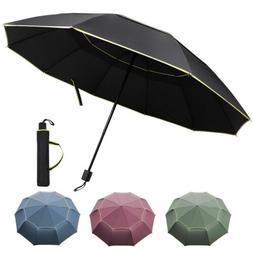 Large Men Women 3-Folding Sun Rain Golf Umbrella Anti-UV Win