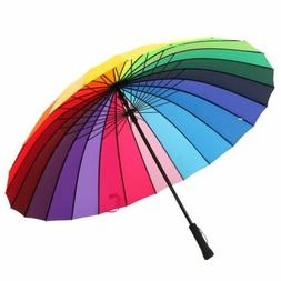 Large Multi-colour Rainbow Umbrella Sun Rain Windproof Paras