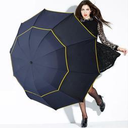 Large Umbrella Sun Rain Windproof Unisex Double Layer 3 Fold