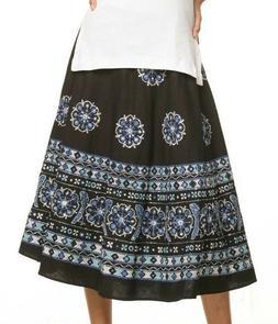 Le Mieux Black/Blue Floral Embellished Umbrella Cotton Skirt