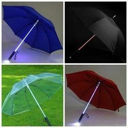 With LED Night Light Windproof Outdoor Umbrellas Flashlight