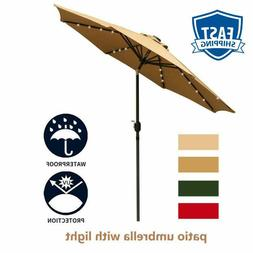 Leisurelife 9' Patio Umbrella With Lights Outdoor - Brown Pa