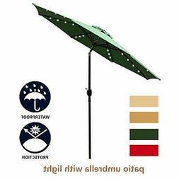 Leisurelife 9' Umbrellas Patio With Solar Lights Outdoor - G