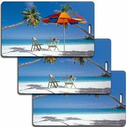 Lenticular Luggage Tag Plastic Loop, empty beach to chair an
