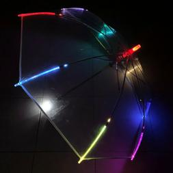 Light-Up LED Flashing Colorful Transparent Rain Umbrella wit