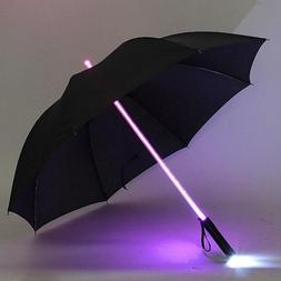 Lightsaber Umbrella 7 Color Led Light Up Laser Sword Golf Fl