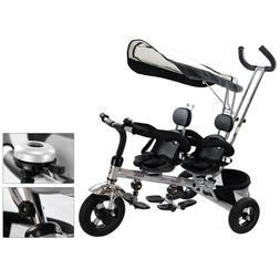 Lightweight Stroller Double Twin Baby Umbrella Canopy Gray X