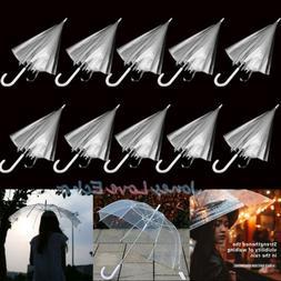 Lot 10 Transparent Clear Automatic Umbrella Parasol for Wedd