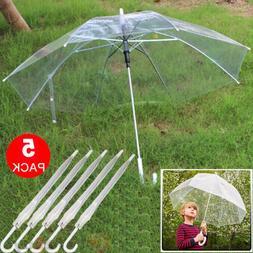 Lot 5 Transparent Clear Automatic Umbrella Parasol for Weddi
