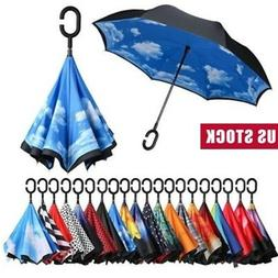 Lot Windproof Double Layer Upside Down Inverted Umbrella C-h