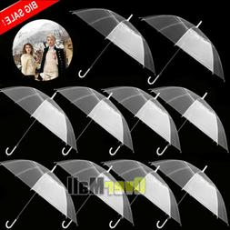 Lots Large Transparent Clear Dome See Through Umbrella w/ Ha