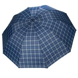 Men Plaid Large Travel Super Windproof Compact Folding Anti-