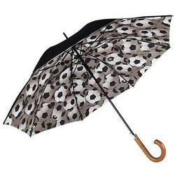 Totes Mens Double Canopy Walker Long Umbrella with Football