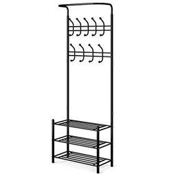 HOMFA Metal Entryway Coat Shoe Rack 3-tier Shoe Bench with C