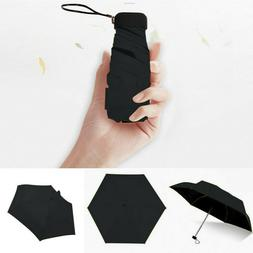 Mini 5-Folding Compact Umbrella Windproof Anti-UV Rain Sun T