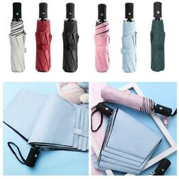 Mini 5-Folding Compact Umbrella Windproof Anti-UV Rain Sun T