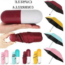 Mini 6-Folding Compact Capsule Umbrella Windproof Anti-UV Ra