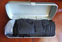 Mini Black Folding Umbrella in Silver Metal Case