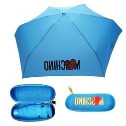 MOSCHINO compact super mini umbrella for handbag sky-blue wi