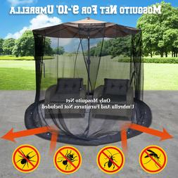 Mosquito Net for 9 to 10' Patio Umbrella Protect Screen Blac