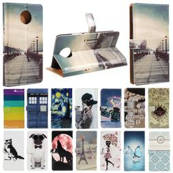 For Motorola Moto G4 G5 G5S G6 Plus Flip Stand Painted Walle