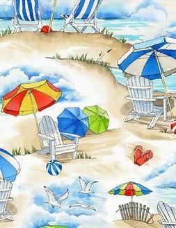 Nautical Fabric - Beach Umbrella Chair Scene Sand - Timeless