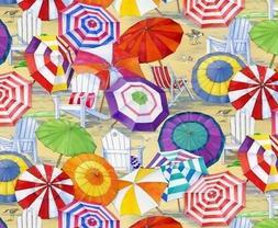 Nautical Fabric - Beach Vista Umbrella & Chair Sand - Elizab