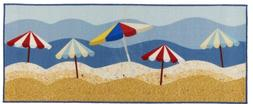 Nautical Ocean Beach Umbrellas Kitchen Runner Mats Area Thro