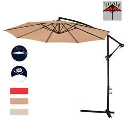 New 10' Patio Umbrella Offset Hanging Umbrella Outdoor Marke