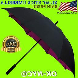 "New - Rain Music - 60"" Automatic Open Golf Stick Umbrella Wi"