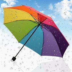 New Folding Umbrella Rainbow Anti-UV Parasols Windproof Comp