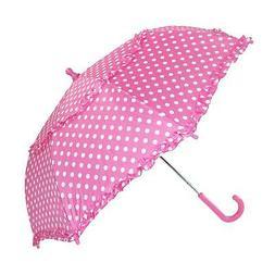New iRain Kids' Hook Handle Ruffled Polka Dot Umbrella