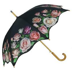 New CTM Women's Auto Open Rose Print Stick Umbrella