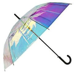 New CTM Women's Iridescent Stick Umbrella with Hook Handle