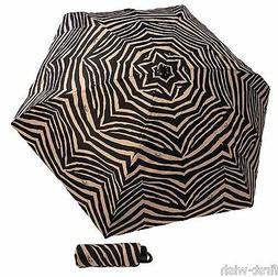 NWT Coach Zebra Umbrella Black Tan Khaki Mini Compact Auto F