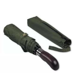 Olive Green Real Wood Handle Auto Open Close Windproof Doubl