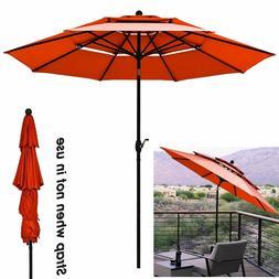 Orange Patio Umbrella 10' Aluminum Outdoor Patio Market Umbr