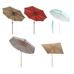 Outdoor Patio Umbrella Wood Market Beach Camping Table Yard