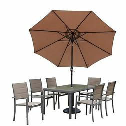 Padded Sling Set with Glass Table, 6 Chairs, 9 ft Umbrella a
