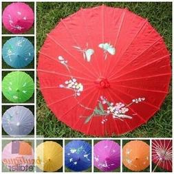 PARASOL UMBRELLA Chinese Japanese Bamboo Flower Pattern Fabr
