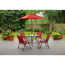 Albany Lane 6-Piece Folding Chair Table Umbrella Outdoor Pat