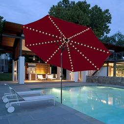 Patio Outdoor Umbrella Solar 8x13 LED Light Decoration Crank