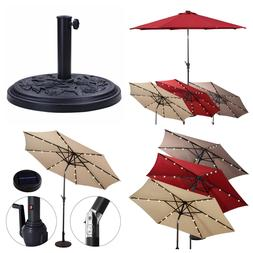 Patio Solar Umbrella LED Lights - with tilt and crank - 9FT