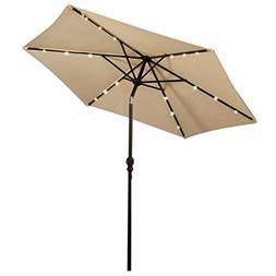 Giantex 9FT Patio Solar Umbrella LED Patio Market Steel Tilt