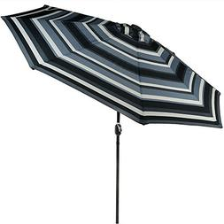 Sunnydaze 9 Foot Outdoor Patio Umbrella with Solar Lights &