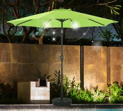 SHORFUNE Patio Umbrella 9 Ft with Solar Powered LED Lights,