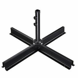 Patio Umbrella Metal Cross Base Stand Frame Supporting Outdo