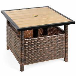Patio Umbrella Stand Wicker Rattan Outdoor Furniture Garden