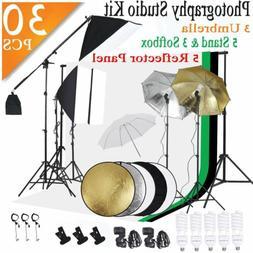 Photography Umbrella Lighting Kit Studio 5 Light Bulb Muslin