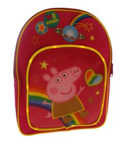 Peppa Pig Childrens Rainbow Backpack Bag Pink With Front Poc